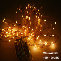 10M 33ft 100 led 3AA battery powered outdoor led copper wire string lights for christmas festival wedding party decoration