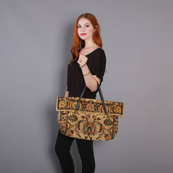 1960s CARPET BAG / 60s Oversized Boho Floral PURSE