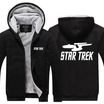 2017 Fashion Fleece Thicken Zipper Hoodies Star Wars Star trek Funny Loose Long sleeves Sweatshirt Plus size