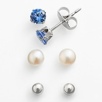 Sunstone 925 Sterling Silver Freshwater Cultured Pearl & Ball Stud Earring Set - Made with Swarovski Zirconia (Pearl/Light Blue/Silver)