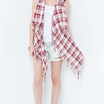 Fallin' In Love With You Everyday Plaid Kimono - Red