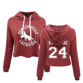 BEACON HILLS LACROSSE Hoodie croptop Camiseta Teen Wolf Stiles Stilinski 24 Lahey 14 Many Player Custom Your Name Number Cropped