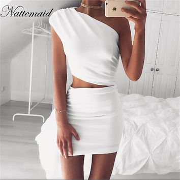 2017  New Arrival Women Evening Party Dress one shoulder white dresses Girls Ladies Short Pencil