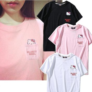 Dickies Women Fashion Hello Kitty Tunic Shirt Top Blouse