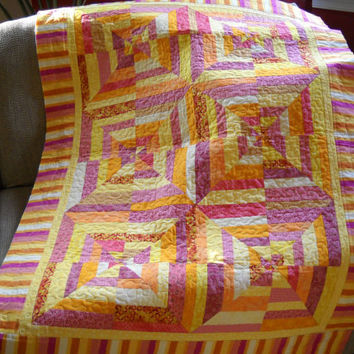 Pink, Orange and Yellow Spider Web Quilt