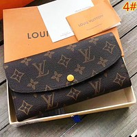 LV Louis Vuitton Women Fashion New Check Monogram Leather Purse Handbag Wallet