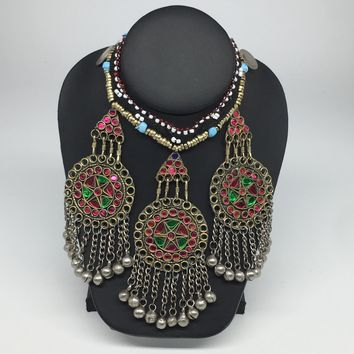 Kuchi Necklace Ethnic Afghan Tribal Pink, Green Glass Jingle bell Necklace NK04