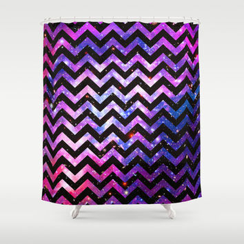 Girly Chevron Pattern Cute Pink Teal Nebula Galaxy Shower Curtain by Girly Trend