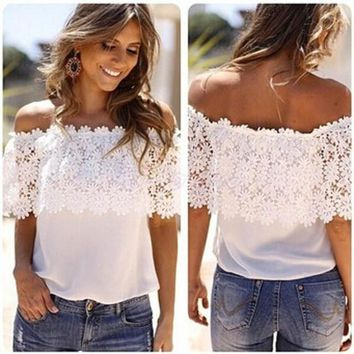 Sexy Women Off Shoulder Blouse 2018 Fashion Beachwear Casual Tops Lace White Chiffon Crochet Shirt