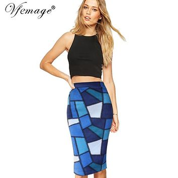 Vfemage Womens Elegant Geometric Contrast Colorblock Patchwork High Waist Casual Party Pencil Knee-Length Skirt 4431