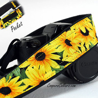 Camera Strap with Pocket, Black-eyed Susans, dSLR, Yellow, Daisy, Flower, SLR