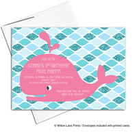 Girls 3rd birthday invitation printable | pool party invitations | whale birthday party invites | hot pink and teal - WLP00313
