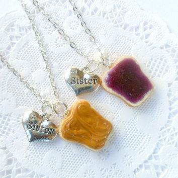 Peanut Butter Jelly Necklace Set, Sister BFF Necklace, Choice of Sterling Silver Chain, Cute :D