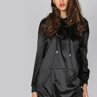 Black Pocket Front Drawstring Hem Silky Hoodie Dress -SheIn(Sheinside)
