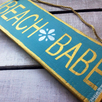 Beach Babe. Teenage Girl Gift. Gift for her. Gift for Girls. Girls Room Decor. Beach Sign. Home Decor.