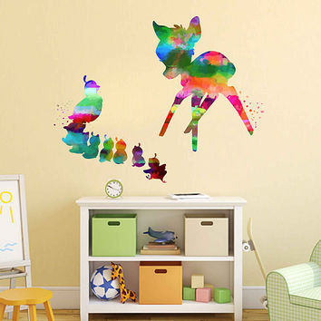 kcik2109 Full Color Wall decal Watercolor Bambi Character Disney Sticker Disney children's room Fawn