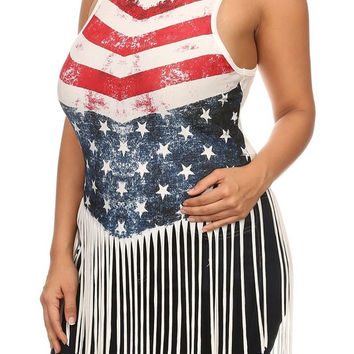 American Flag Graphic Print Plus Size Top Curvy Couture