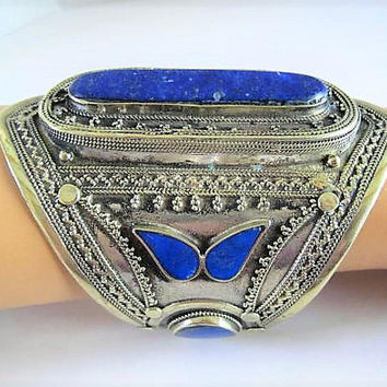 Lapis Wide Bracelet, Large Cuff Style, Lapis Center Stone, 4 Inch Wide Ethnic Silver Tone Metal