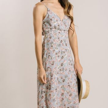 Roseanne Blue Floral Midi Dress