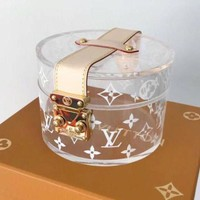 LV Louis Vuitton Fashion Women Shoulder Bag Simple Transparent Crystal Jelly Bag Buckle Handbag Bag Cosmetic Bag I-AGG-CZDL