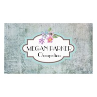 Light Blue Distressed Grunge Watercolor Floral Business Card