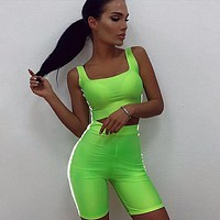 Women's Fitness 2 piece set Reflective stripe strapless crop top elastic shorts tracksuit outfit