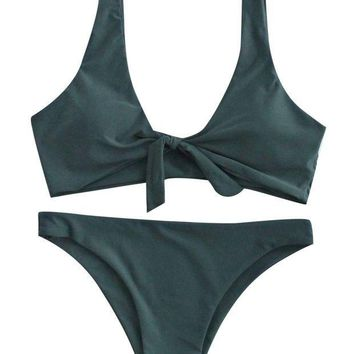 ESBONIS SweatyRocks Women's Sexy Bikini Swimsuit Tie Knot Front Swimwear Set