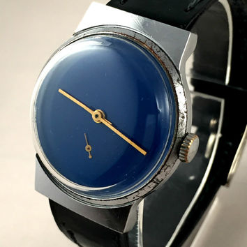 "Minimalist Vintage Soviet men's watch called ""VICTORY""( Pobeda),plain dark blue dial, comes with new leather band!"