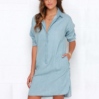 Fashion Women's Washed Denim Jean Dress Loose Casual Long Sleeve Shirt Dresses SM6