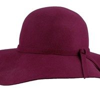Seductive Wide Brim Diva Style Burgundy Floppy Hat