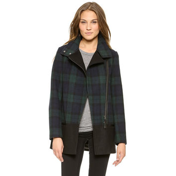 Black Patchwork Leather Zippers Jacket [6407738948]