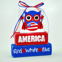 Fourth of July Red White Blue Owl WoodenBlock Shelf Sitter Stack