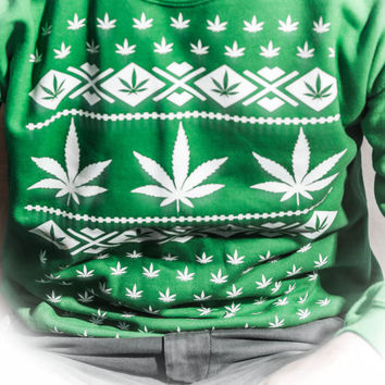 Marijuana Christmas Sweater Patterned Crew Neck! SMALL DESIGN