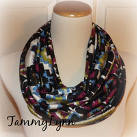 NEW!!  Jewel Tone Ikat Ethnic Super Soft Cotton Jersey Rayon Spandex Blend Infinity Scarf Women's Accessories