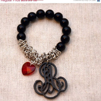 End Of Summer SALE 2 Letters Initial Monogram Customized Personalized Name Bracelet With Celestial Heart Pendant