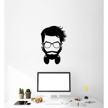 Vinyl Decal Wall Sticker Hipster Geek Headphones Decor Unique Gift (g061)
