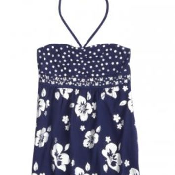 Polka Dot And Hibiscus Bandeau Top | Paradise Blues | New Arrivals | Shop Justice