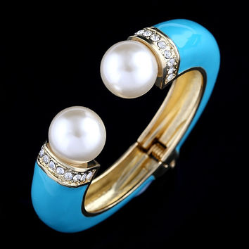 Turquoise Bangle with Faux Pearl Accent