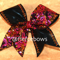 Pink and Orange Sequin Cheer Bow