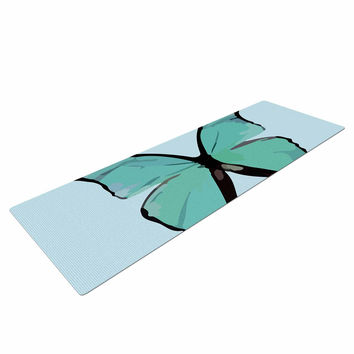 "NL Designs ""Blue Butterfly"" Blue Quote Yoga Mat"