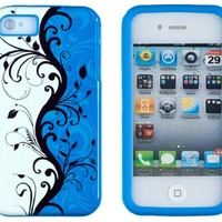 DandyCase 2in1 Hybrid High Impact Hard Vine Swirl Floral Pattern + Blue Silicone Case Cover For Apple iPhone 4S & iPhone 4 + DandyCase Screen Cleaner