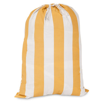 Yellow Vertical Stripe Laundry Bag