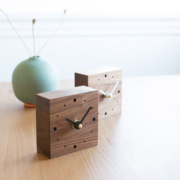 Mini square desk clock walnut wood with white or black hands