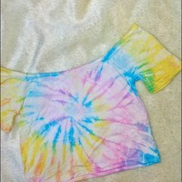 SWEET LORD O'MIGHTY! TIEDYE BARDOT CROP TOP