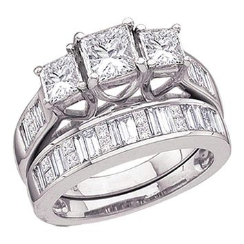 14kt White Gold Women's Princess Diamond 3-Stone Bridal Wedding Engagement Ring Band Set 2.00 Cttw - FREE Shipping (US/CAN)