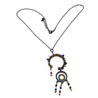 Circle Pendants Beaded Necklace using a Recycled Metal Dial and Crystal Bicone Beads, Multi Color Beads, Boho, Hematite Chain, Gift for Her