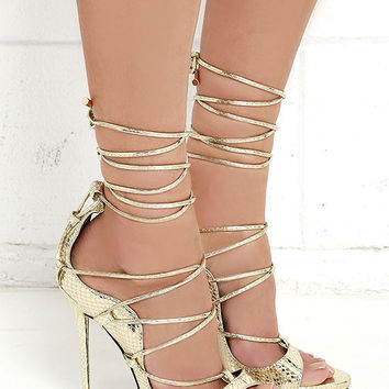 Party Anthem Gold Snakeskin Lace-Up Heels