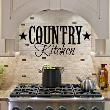 Country Kitchen vinyl wall lettering art home decor Family Sticker Quote Decal Sticker