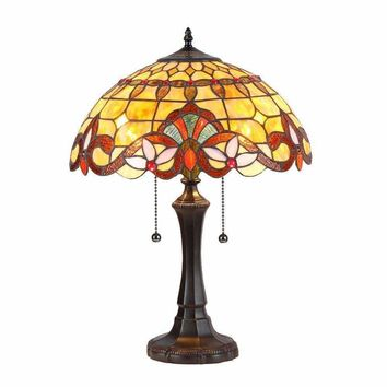 "Tiffany-Style 2 Light Victorian Table Lamp 16"" Shade"