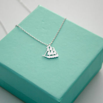 Silver Nautical Pirate Ship Necklace, Dainty Sailboat Pendant, Sailing Ship, Sail Boat Minimalist Jewelry